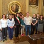 En Italie reçu par la mairesse de Vercellie